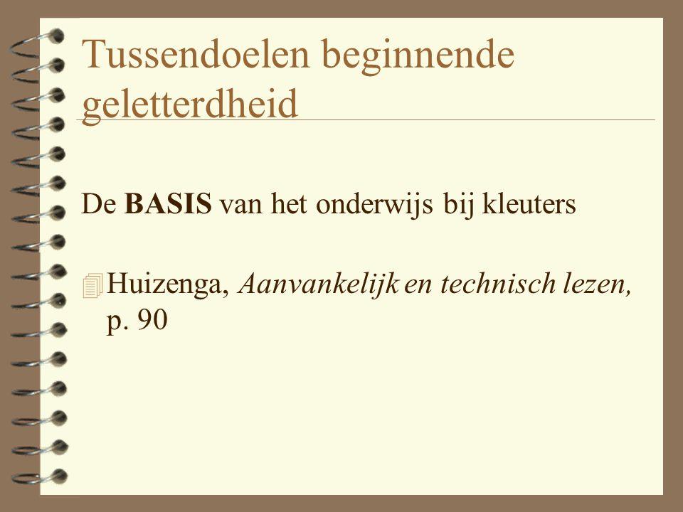 Tussendoelen beginnende geletterdheid De BASIS van het onderwijs bij kleuters 4 Huizenga, Aanvankelijk en technisch lezen, p. 90