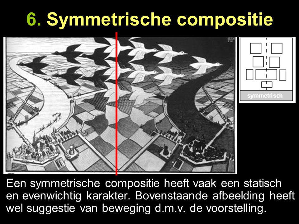 Een symmetrische compositie heeft vaak een statisch en evenwichtig karakter. Bovenstaande afbeelding heeft wel suggestie van beweging d.m.v. de voorst
