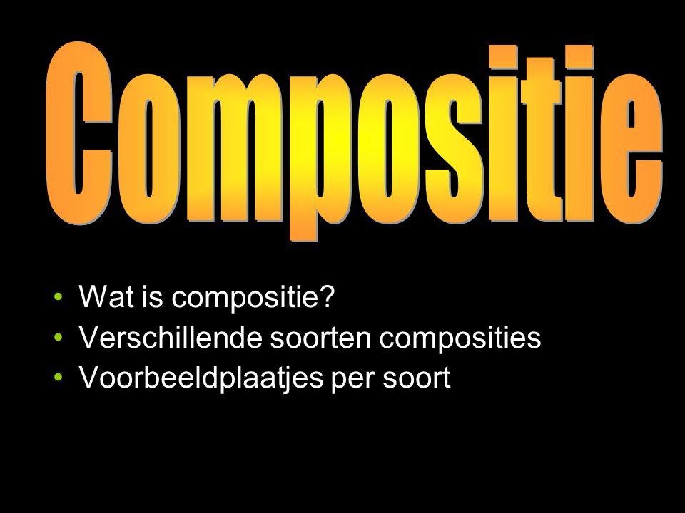 Compositie Compositie (muziek): geschreven muziekstuk met behulp van een notenbalk Compositie (2D, 3D): indeling, vlakverdeling & samenstelling, ordening, rangschikking Gevolg: de kijkrichting binnen de voorstelling wordt bepaald.