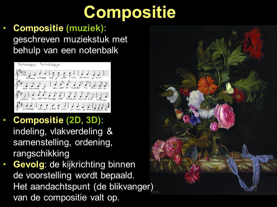 Compositie Compositie (muziek): geschreven muziekstuk met behulp van een notenbalk Compositie (2D, 3D): indeling, vlakverdeling & samenstelling, orden