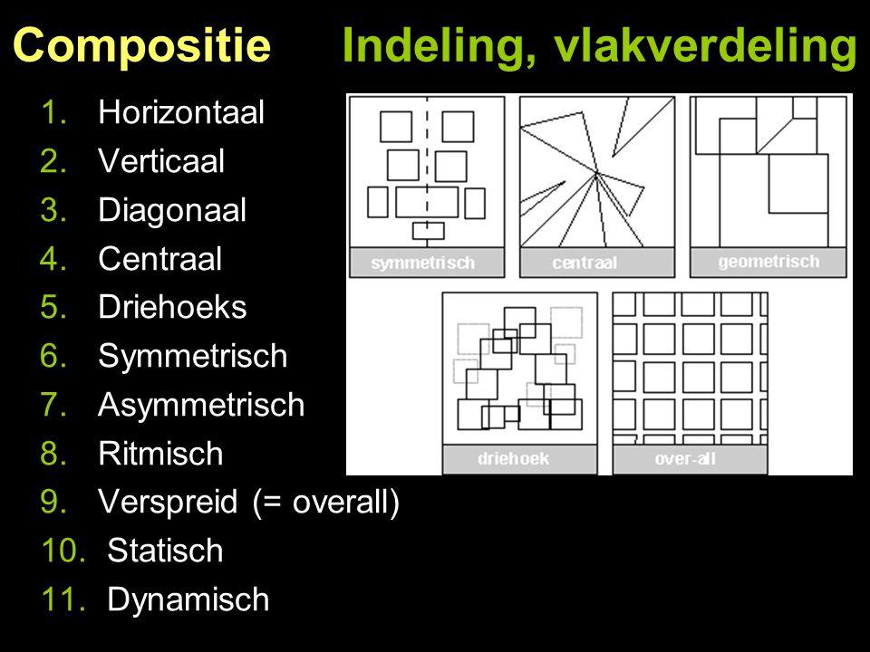 Compositie Indeling, vlakverdeling 1.Horizontaal 2.Verticaal 3.Diagonaal 4.Centraal 5.Driehoeks 6.Symmetrisch 7.Asymmetrisch 8.Ritmisch 9.Verspreid (=