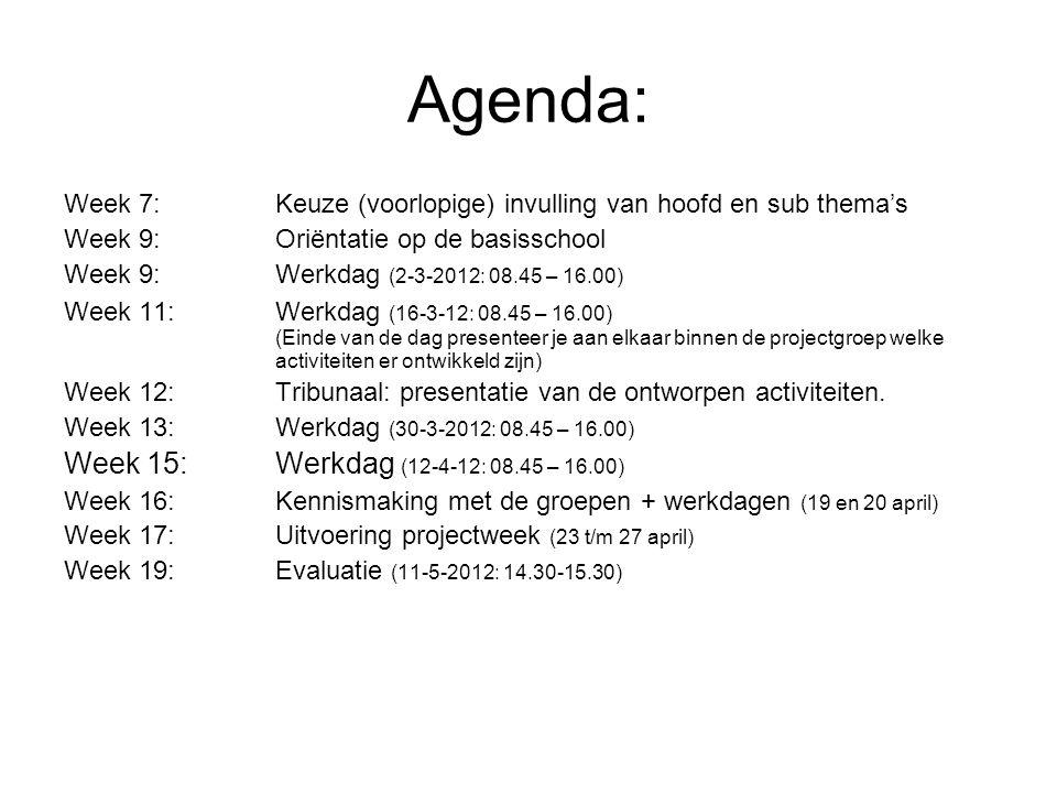 Agenda: Week 7:Keuze (voorlopige) invulling van hoofd en sub thema's Week 9:Oriëntatie op de basisschool Week 9:Werkdag (2-3-2012: 08.45 – 16.00) Week