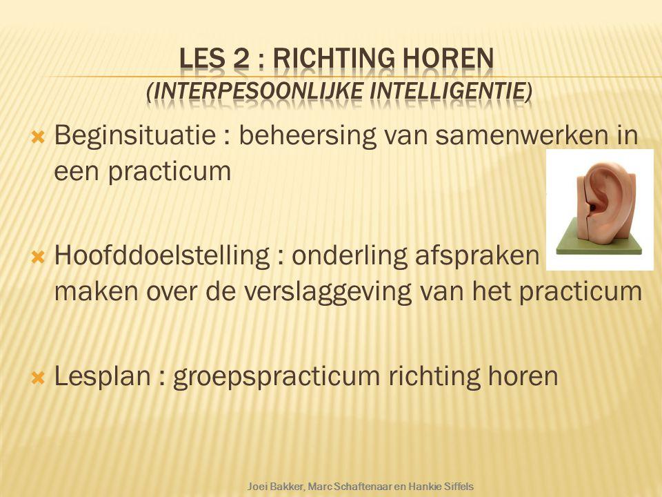  Beginsituatie : beheersing van samenwerken in een practicum  Hoofddoelstelling : onderling afspraken maken over de verslaggeving van het practicum