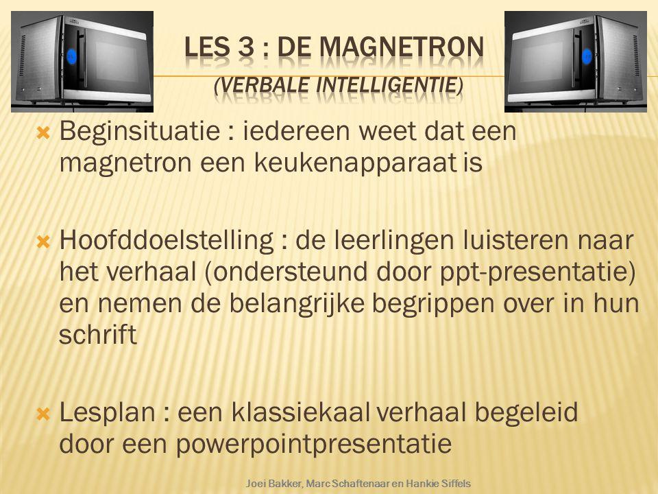  Beginsituatie : iedereen weet dat een magnetron een keukenapparaat is  Hoofddoelstelling : de leerlingen luisteren naar het verhaal (ondersteund do