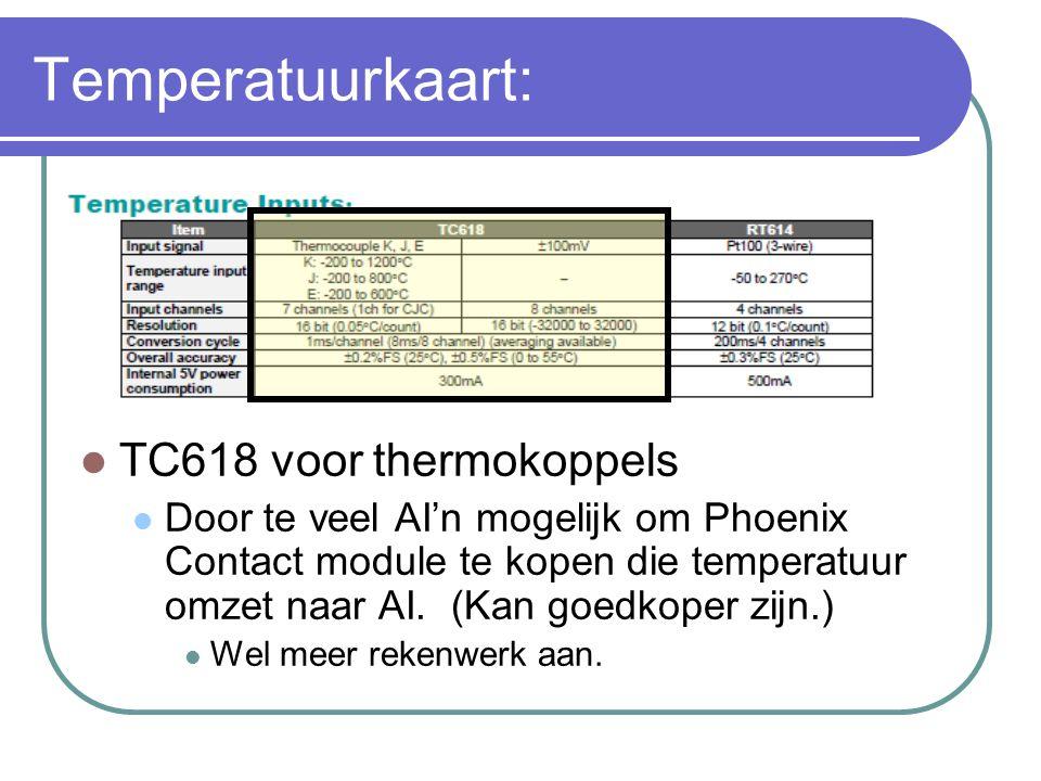Temperatuurkaart: TC618 voor thermokoppels Door te veel AI'n mogelijk om Phoenix Contact module te kopen die temperatuur omzet naar AI. (Kan goedkoper