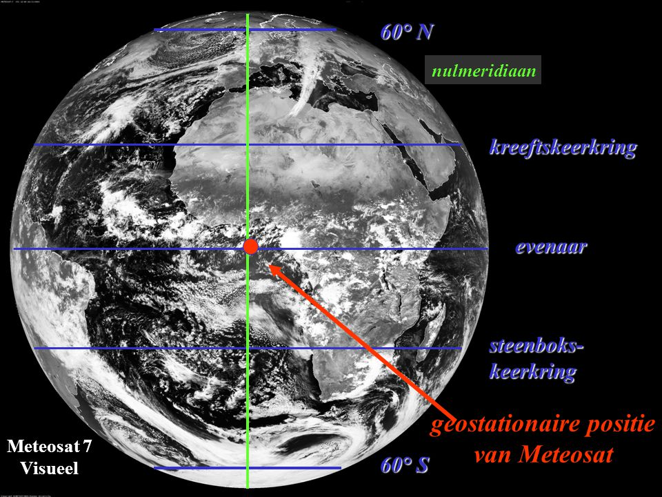 Meteosat 7 Visueel wit = reflectie van zonlicht zwart = absorptie van zonlicht