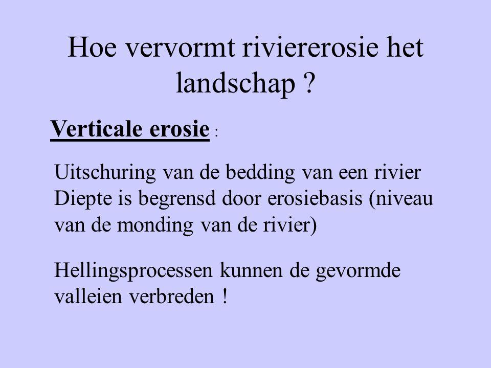 Hoe vervormt riviererosie het landschap ? Verticale erosie : Uitschuring van de bedding van een rivier Diepte is begrensd door erosiebasis (niveau van