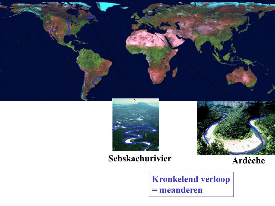 Sebskachurivier Ardèche Kronkelend verloop = meanderen