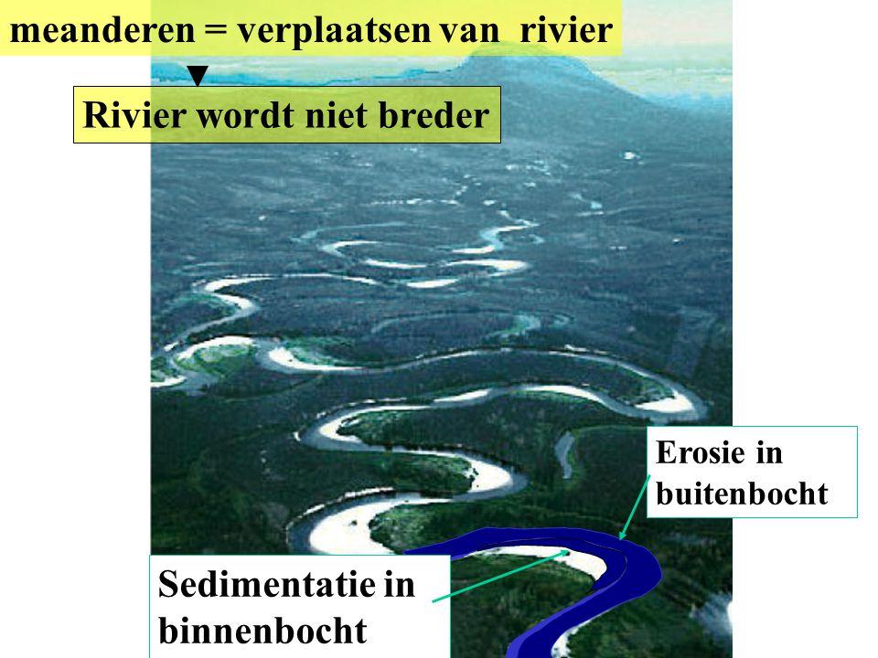 meanderen = verplaatsen van rivier Sedimentatie in binnenbocht Erosie in buitenbocht Rivier wordt niet breder
