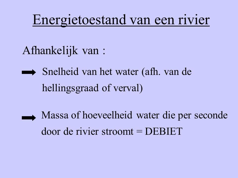 Energietoestand van een rivier Snelheid van het water (afh. van de hellingsgraad of verval) Massa of hoeveelheid water die per seconde door de rivier