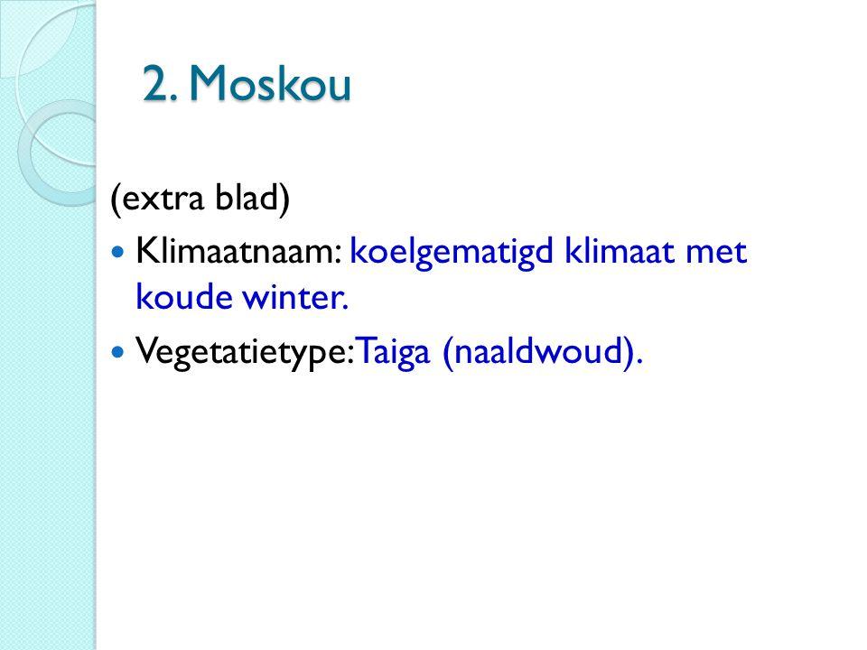 2. Moskou (extra blad) Klimaatnaam: koelgematigd klimaat met koude winter. Vegetatietype: Taiga (naaldwoud).