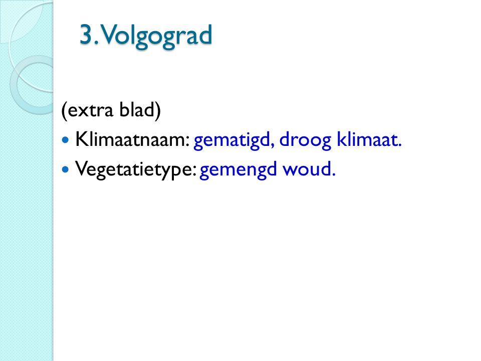 3. Volgograd (extra blad) Klimaatnaam: gematigd, droog klimaat. Vegetatietype: gemengd woud.