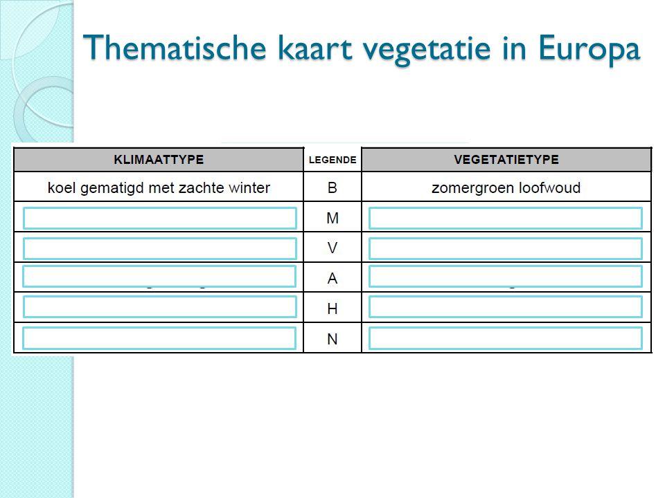 Thematische kaart vegetatie in Europa