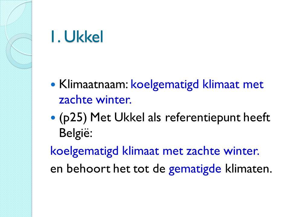 1. Ukkel Klimaatnaam: koelgematigd klimaat met zachte winter. (p25) Met Ukkel als referentiepunt heeft België: koelgematigd klimaat met zachte winter.
