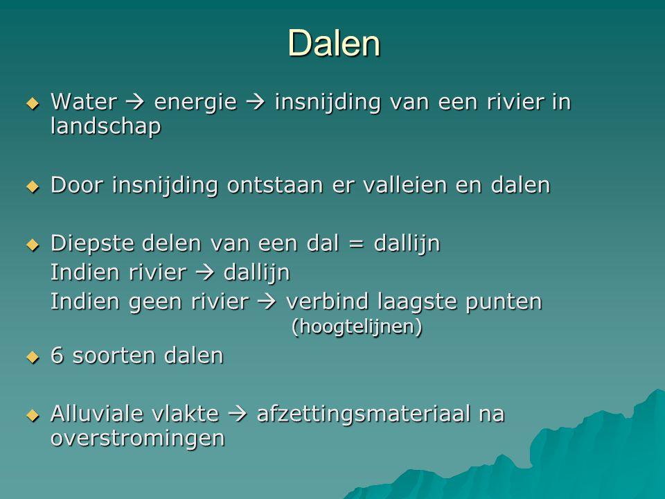 Dalen  Water  energie  insnijding van een rivier in landschap  Door insnijding ontstaan er valleien en dalen  Diepste delen van een dal = dallijn