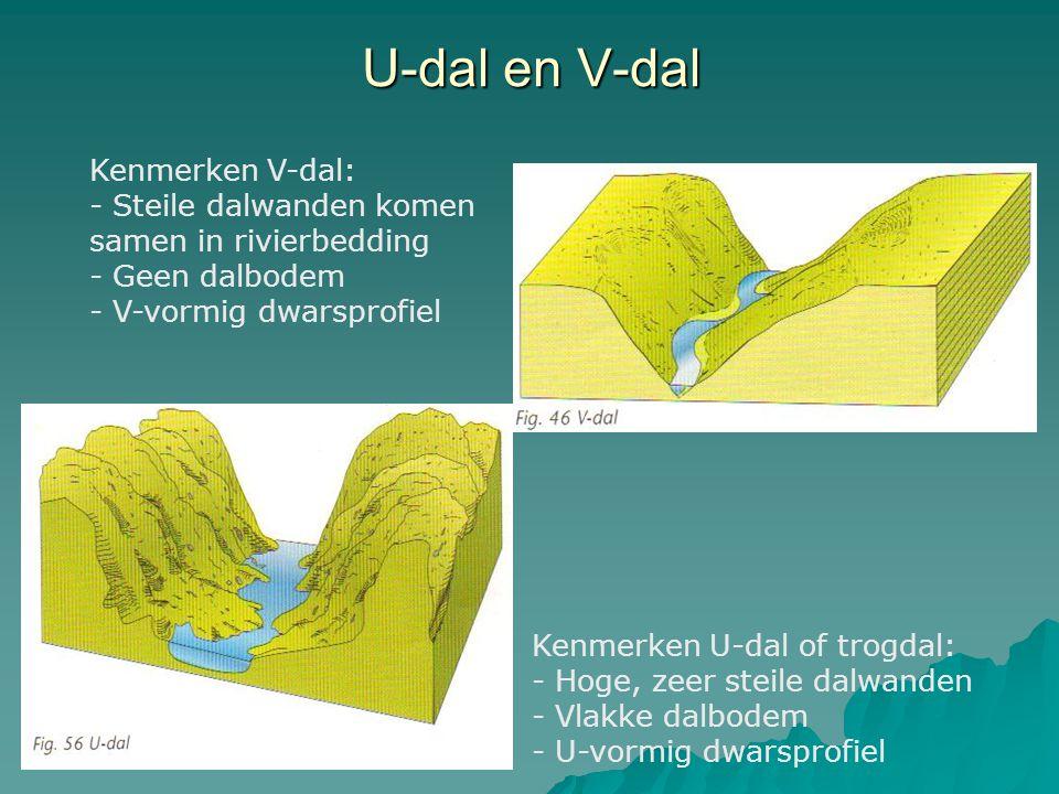 U-dal en V-dal Kenmerken V-dal: - Steile dalwanden komen samen in rivierbedding - Geen dalbodem - V-vormig dwarsprofiel Kenmerken U-dal of trogdal: - Hoge, zeer steile dalwanden - Vlakke dalbodem - U-vormig dwarsprofiel
