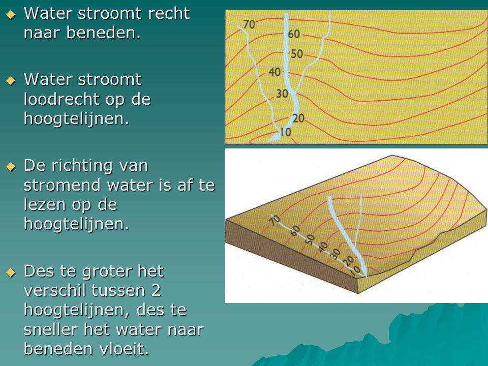  Water stroomt recht naar beneden.  Water stroomt loodrecht op de hoogtelijnen.  De richting van stromend water is af te lezen op de hoogtelijnen.