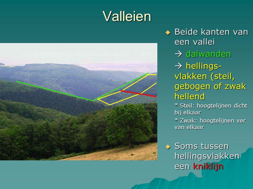 Valleien  Beide kanten van een vallei  dalwanden  hellings- vlakken (steil, gebogen of zwak hellend * Steil: hoogtelijnen dicht bij elkaar * Zwak: hoogtelijnen ver van elkaar  Soms tussen hellingsvlakken een kniklijn