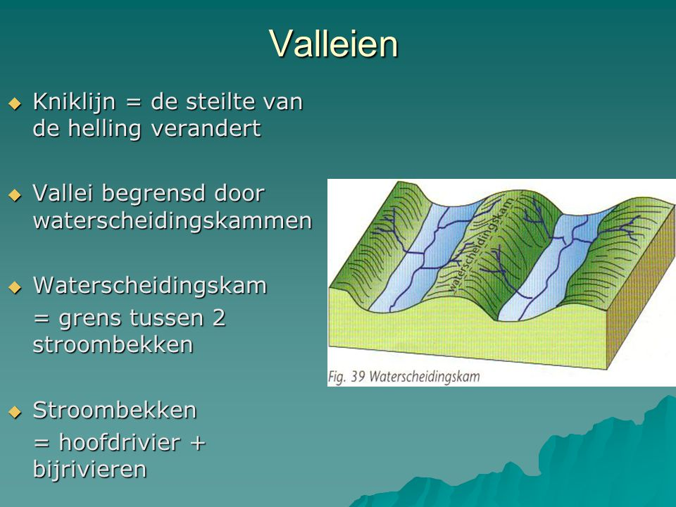 Valleien  Kniklijn = de steilte van de helling verandert  Vallei begrensd door waterscheidingskammen  Waterscheidingskam = grens tussen 2 stroombekken  Stroombekken = hoofdrivier + bijrivieren