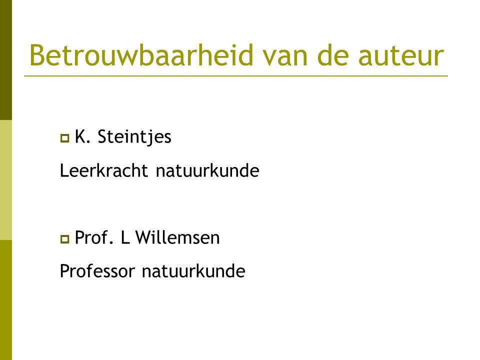 Betrouwbaarheid van de auteur  K. Steintjes Leerkracht natuurkunde  Prof. L Willemsen Professor natuurkunde