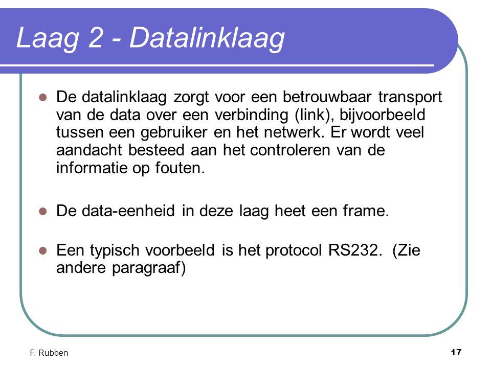 F. Rubben17 Laag 2 - Datalinklaag De datalinklaag zorgt voor een betrouwbaar transport van de data over een verbinding (link), bijvoorbeeld tussen een