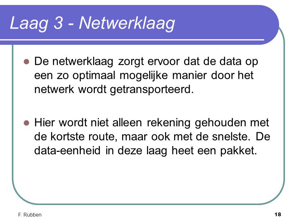 F. Rubben18 Laag 3 - Netwerklaag De netwerklaag zorgt ervoor dat de data op een zo optimaal mogelijke manier door het netwerk wordt getransporteerd. H