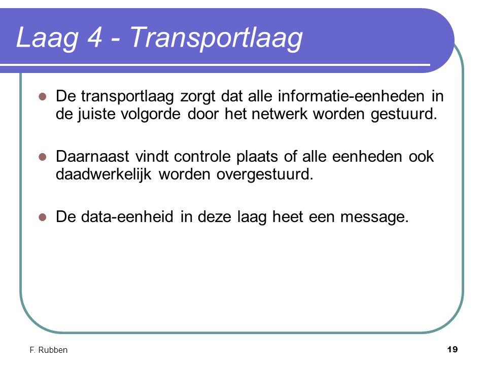 F. Rubben19 Laag 4 - Transportlaag De transportlaag zorgt dat alle informatie-eenheden in de juiste volgorde door het netwerk worden gestuurd. Daarnaa