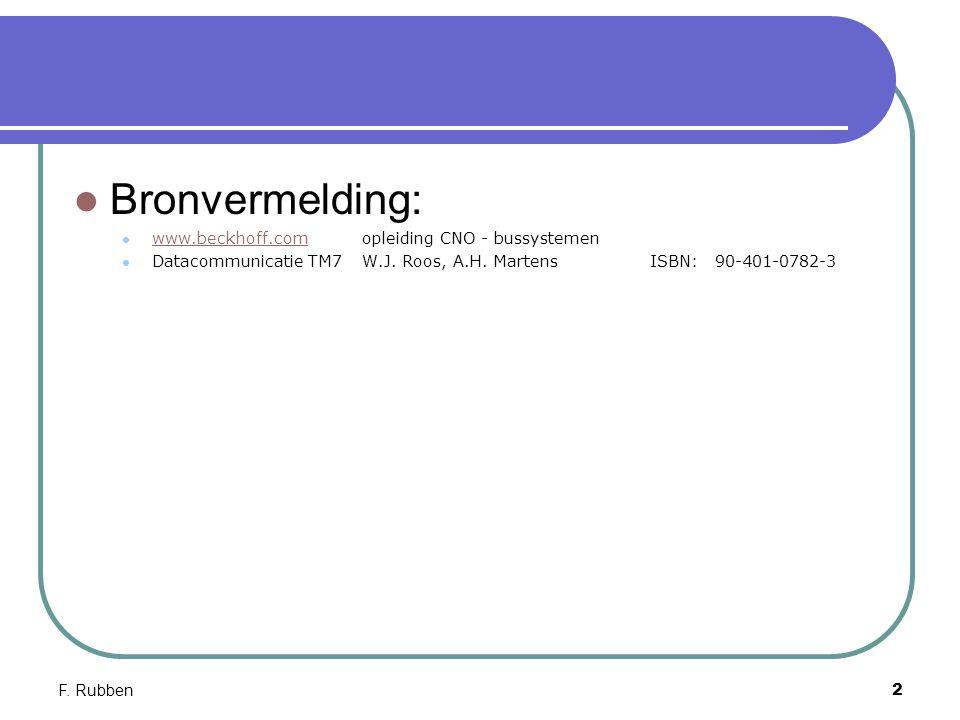 F. Rubben2 Bronvermelding: www.beckhoff.comopleiding CNO - bussystemen www.beckhoff.com Datacommunicatie TM7W.J. Roos, A.H. MartensISBN: 90-401-0782-3