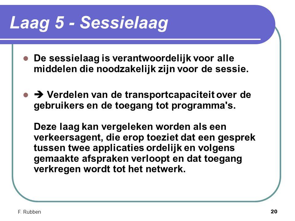 F. Rubben20 Laag 5 - Sessielaag De sessielaag is verantwoordelijk voor alle middelen die noodzakelijk zijn voor de sessie.  Verdelen van de transport