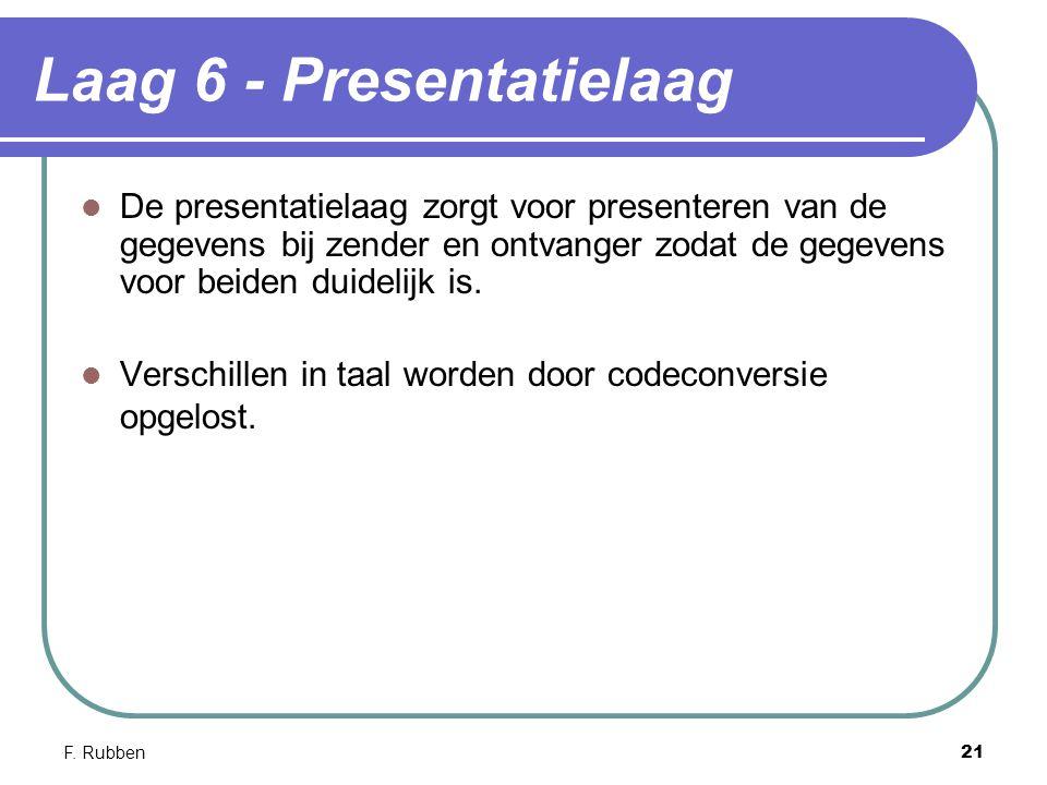 F. Rubben21 Laag 6 - Presentatielaag De presentatielaag zorgt voor presenteren van de gegevens bij zender en ontvanger zodat de gegevens voor beiden d