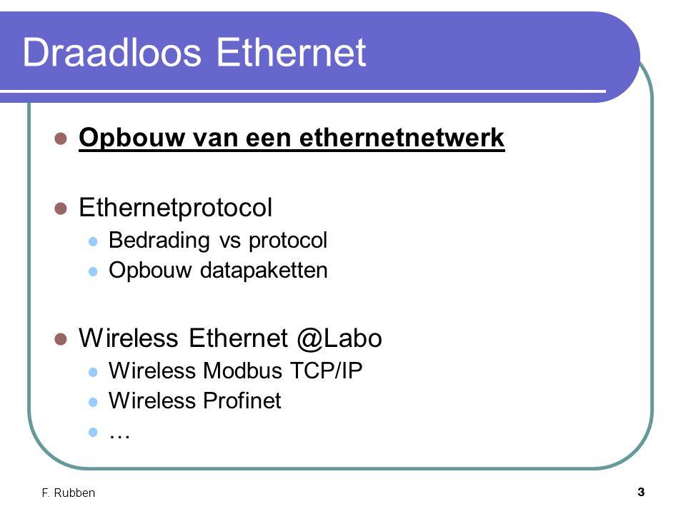 F. Rubben3 Draadloos Ethernet Opbouw van een ethernetnetwerk Ethernetprotocol Bedrading vs protocol Opbouw datapaketten Wireless Ethernet @Labo Wirele