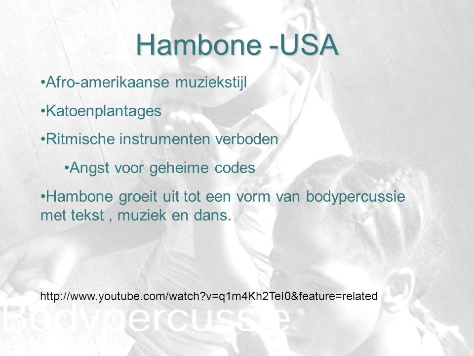 Hambone -USA http://www.youtube.com/watch?v=q1m4Kh2TeI0&feature=related Afro-amerikaanse muziekstijl Katoenplantages Ritmische instrumenten verboden A