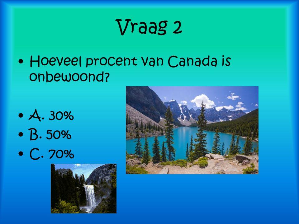 Vraag 2 Hoeveel procent van Canada is onbewoond? A. 30% B. 50% C. 70%