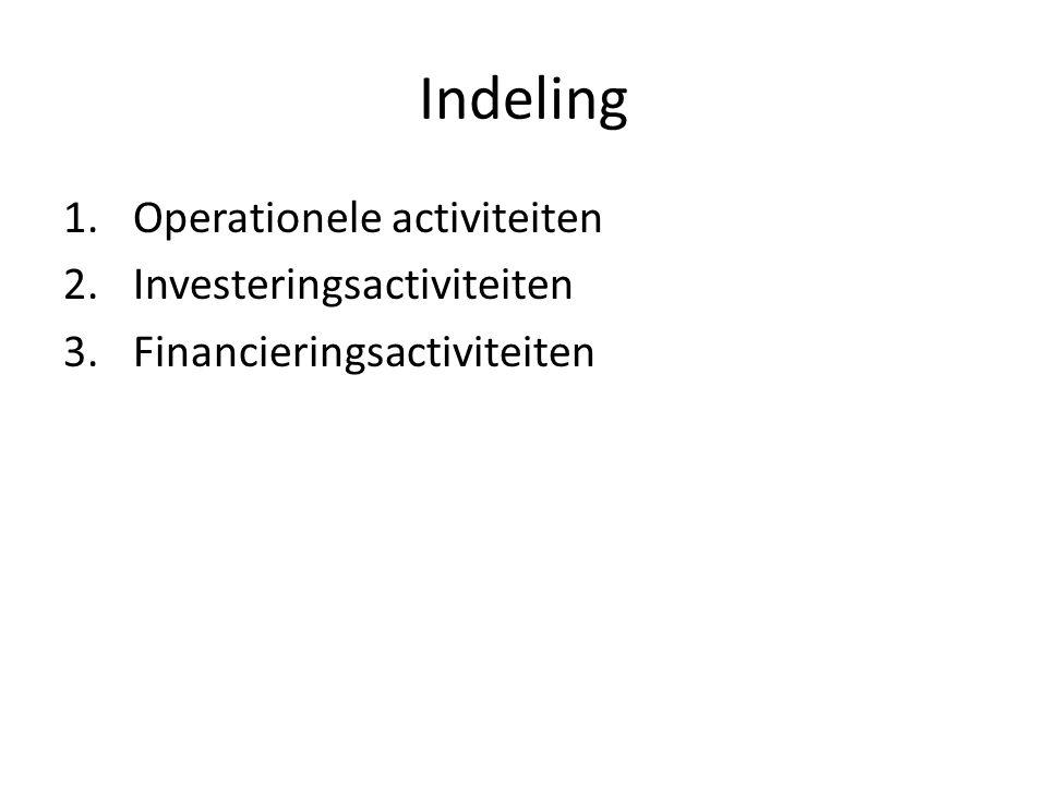 Kasstroomoverzicht Doelen: 1.Beoordelen kasgeldgenererende capaciteit 2.Verhouding nettowinst – cashflow 3.Beoordelen behoefte aan kasgeld 4.Beoordelen capaciteit om aflossing, rente en dividend te betalen 5.Bepaling dividendbeleid 6.Evaluatie investeringsbeslissingen 7.Evaluatie financieringsbeslissingen