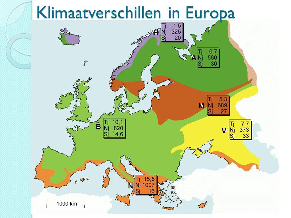 Klimaatverschillen in Europa B M V A H N
