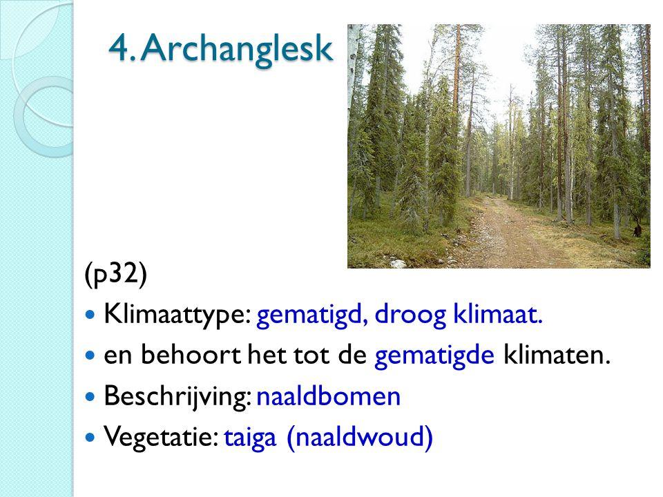 4. Archanglesk (p32) Klimaattype: gematigd, droog klimaat. en behoort het tot de gematigde klimaten. Beschrijving: naaldbomen Vegetatie: taiga (naaldw