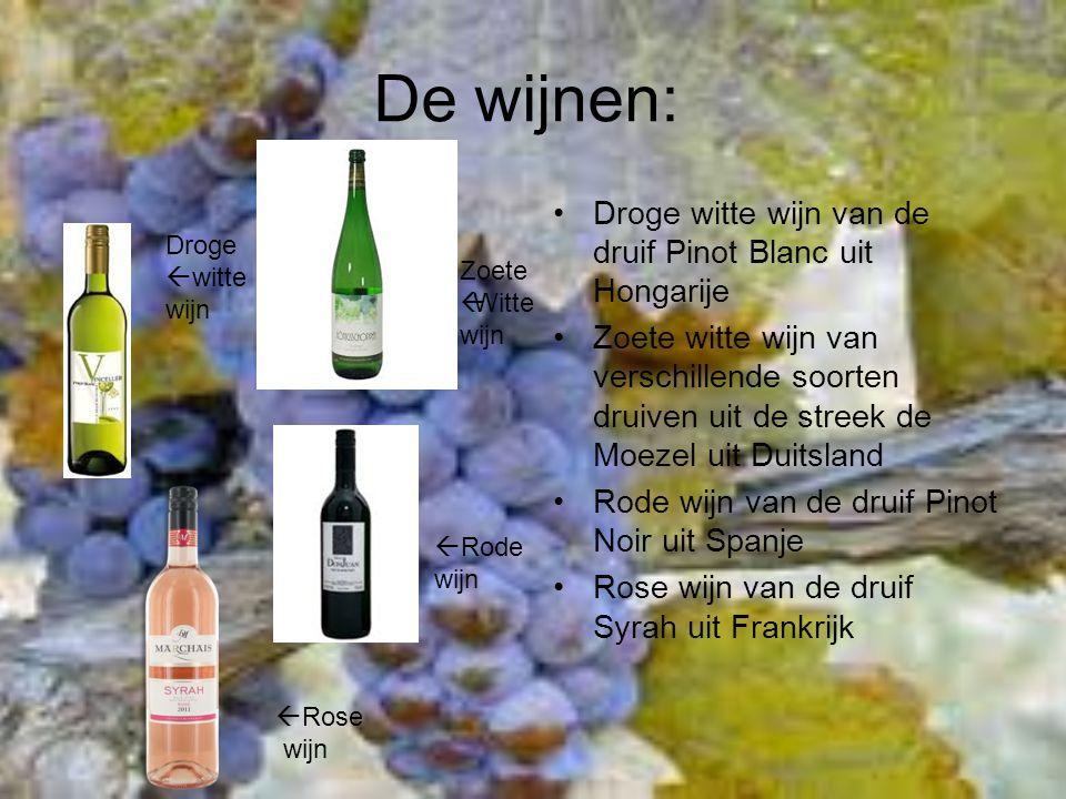 De wijnen: Droge witte wijn van de druif Pinot Blanc uit Hongarije Zoete witte wijn van verschillende soorten druiven uit de streek de Moezel uit Duit