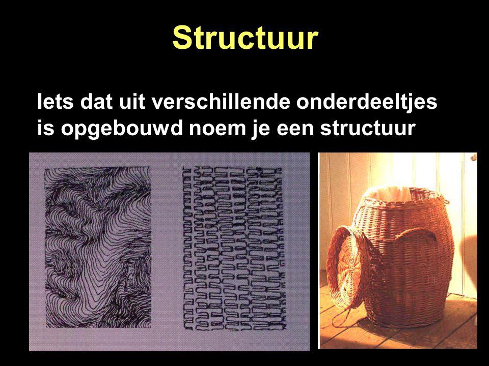 Structuur De buitenkant van elk voorwerp, dier of mens bevat structuur Een structuur is bijvoorbeeld: glad, ruw, pukkelig of rimpelig Verschillende soorten structuur zijn: 1.
