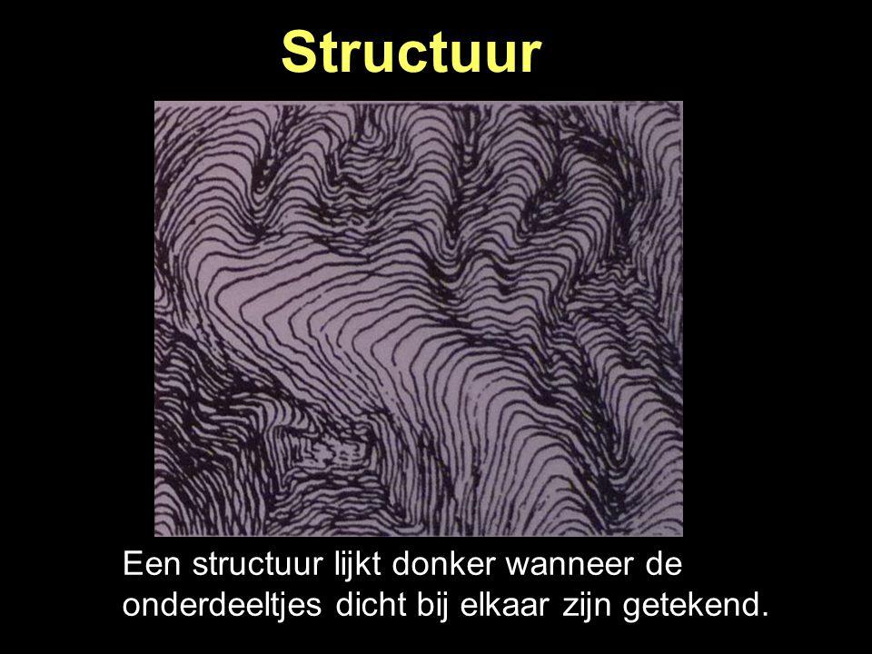 Een structuur lijkt donker wanneer de onderdeeltjes dicht bij elkaar zijn getekend. Structuur