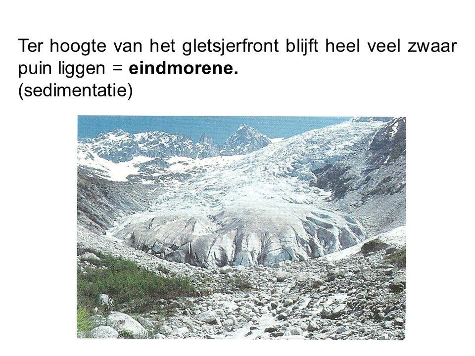 Ter hoogte van het gletsjerfront blijft heel veel zwaar puin liggen = eindmorene. (sedimentatie)