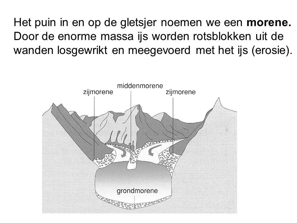 Het puin in en op de gletsjer noemen we een morene. Door de enorme massa ijs worden rotsblokken uit de wanden losgewrikt en meegevoerd met het ijs (er