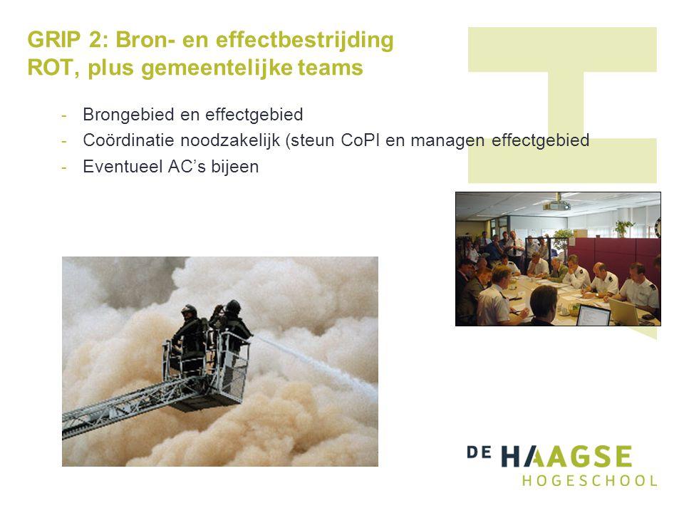 GRIP 2: Bron- en effectbestrijding ROT, plus gemeentelijke teams - Brongebied en effectgebied - Coördinatie noodzakelijk (steun CoPI en managen effect