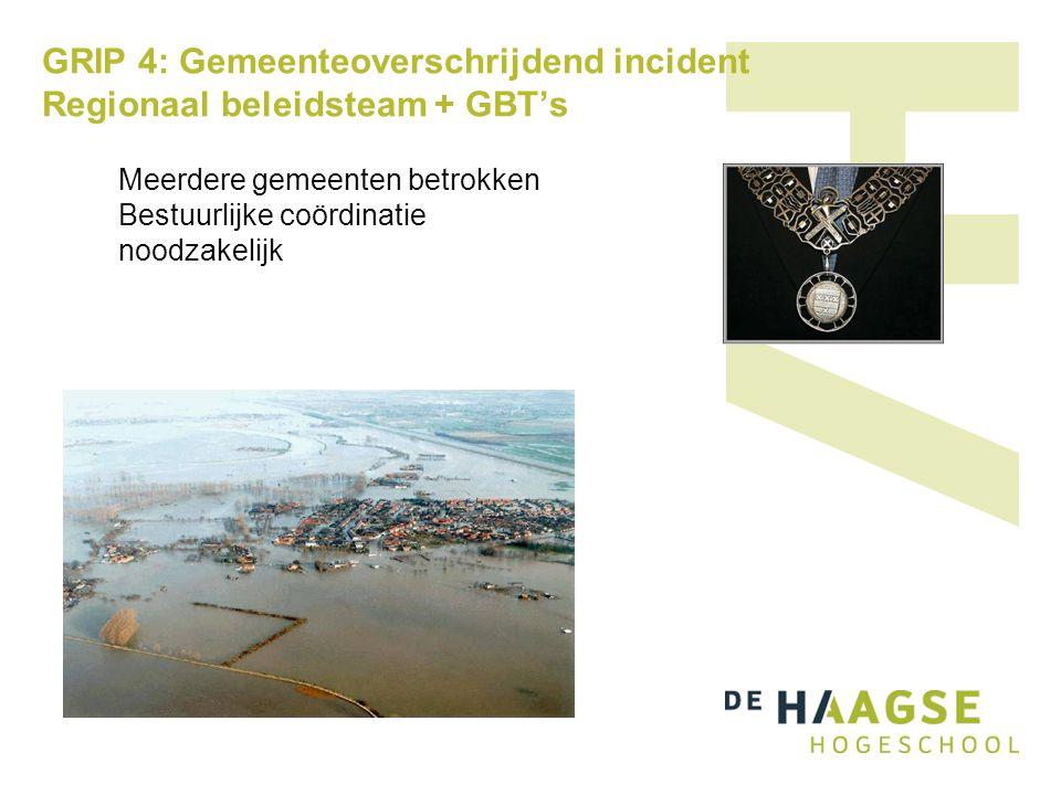 GRIP 4: Gemeenteoverschrijdend incident Regionaal beleidsteam + GBT's Meerdere gemeenten betrokken Bestuurlijke coördinatie noodzakelijk