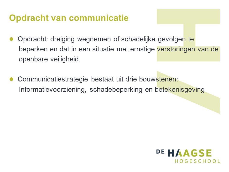 Opdracht van communicatie Opdracht: dreiging wegnemen of schadelijke gevolgen te beperken en dat in een situatie met ernstige verstoringen van de open