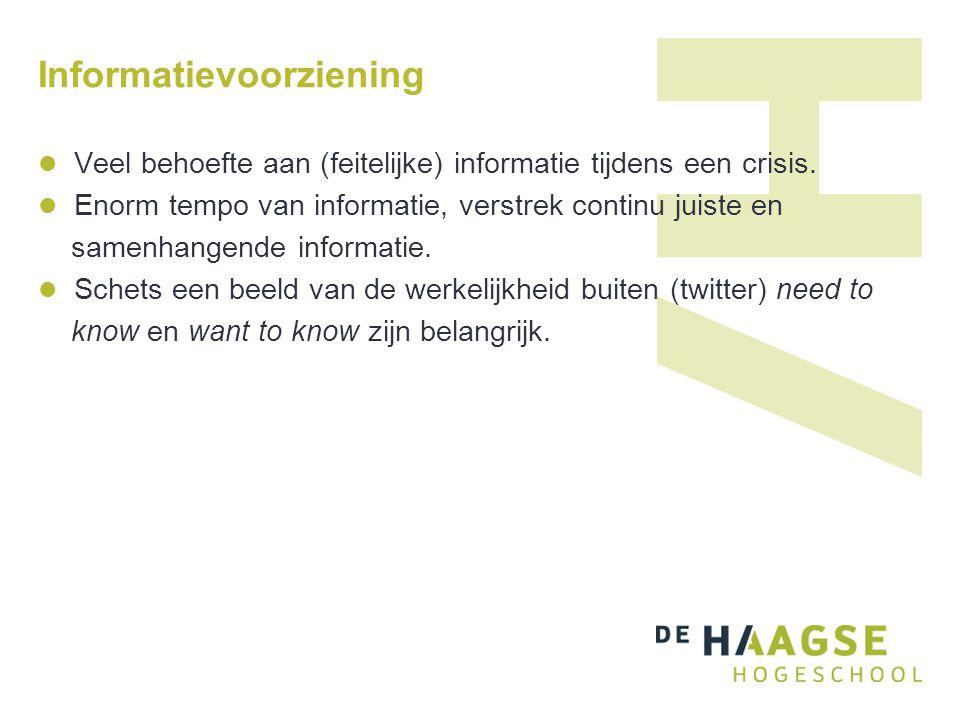 Informatievoorziening Veel behoefte aan (feitelijke) informatie tijdens een crisis. Enorm tempo van informatie, verstrek continu juiste en samenhangen
