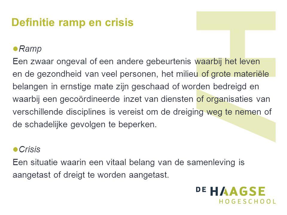 Definitie ramp en crisis Ramp Een zwaar ongeval of een andere gebeurtenis waarbij het leven en de gezondheid van veel personen, het milieu of grote ma