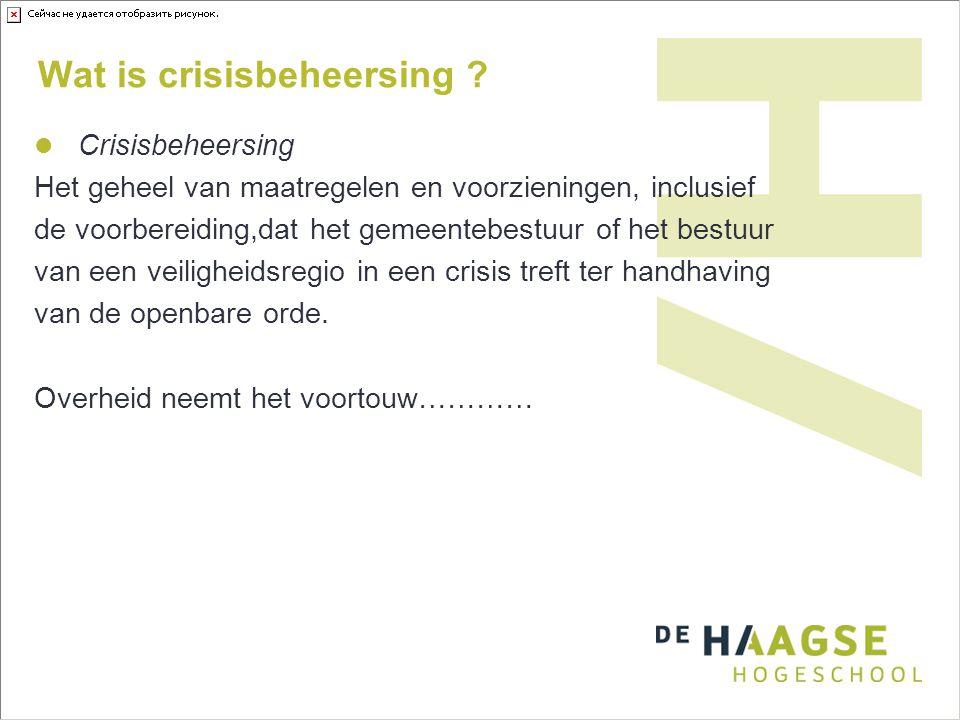 Wat is crisisbeheersing ? Crisisbeheersing Het geheel van maatregelen en voorzieningen, inclusief de voorbereiding,dat het gemeentebestuur of het best