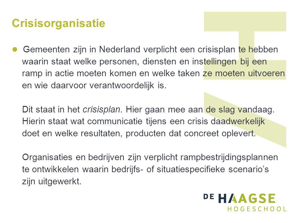 Crisisorganisatie Gemeenten zijn in Nederland verplicht een crisisplan te hebben waarin staat welke personen, diensten en instellingen bij een ramp in