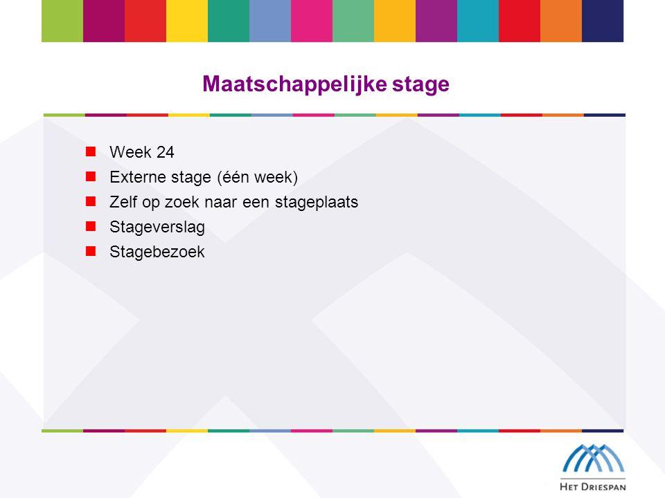 Maatschappelijke stage Week 24 Externe stage (één week) Zelf op zoek naar een stageplaats Stageverslag Stagebezoek