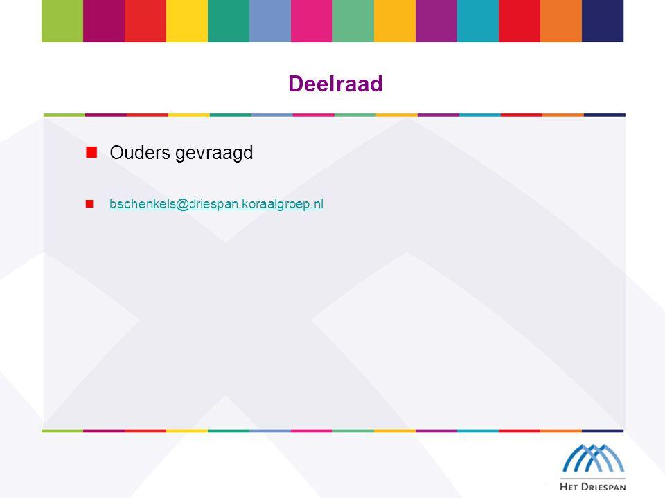 Deelraad Ouders gevraagd bschenkels@driespan.koraalgroep.nl